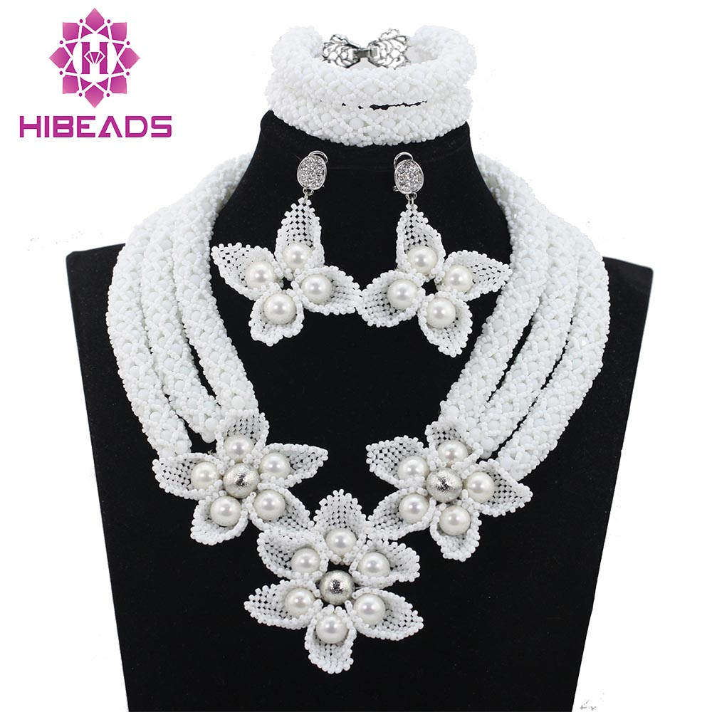 Fashion White Flower Beads African Necklace Earrings Set Chunky Bridal Indian Jewelry Set for Wedding Free Shipping WD782