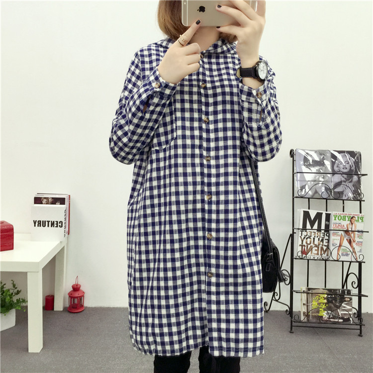 Brand Yan Qing Huan 2018 Spring Long Paragraph Large Size Plaid Shirt Fashion New Women's Casual Loose Long-sleeved Blouse Shirt 14
