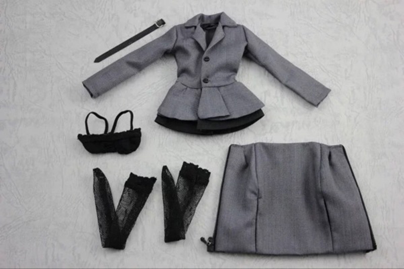 Straightforward 1/6 Black Female Leather Overcoat Costume Set For 12 Collectible Action Figure Diy Toys & Hobbies
