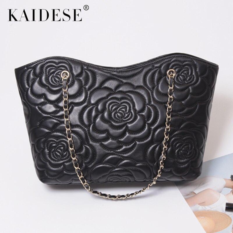 kaidese Casual Luxury Sheepskin Bags Genuine Leather Chain Flower bags Tote Big Bag Women Handbag Classic Brand High Quality Fem