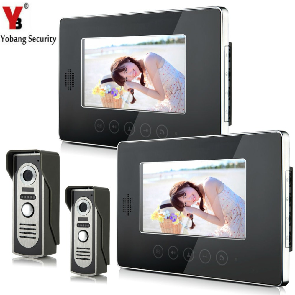 YobangSecurity Wired Video Door Phone Intercom 7Inch LCD Video Doorbell Camera System 2 Camera 2 Monitor For Apartment House yobangsecurity villa apartment eye door bell 7tft lcd color video door phone doorbell intercom system 1 camera 3 monitor