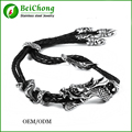 Factory Directly Antique Stainless Steel Adjustable Leather Rope Bahamut The Sasang Sacred Cloud Rider Dragon Bracelet&bangles