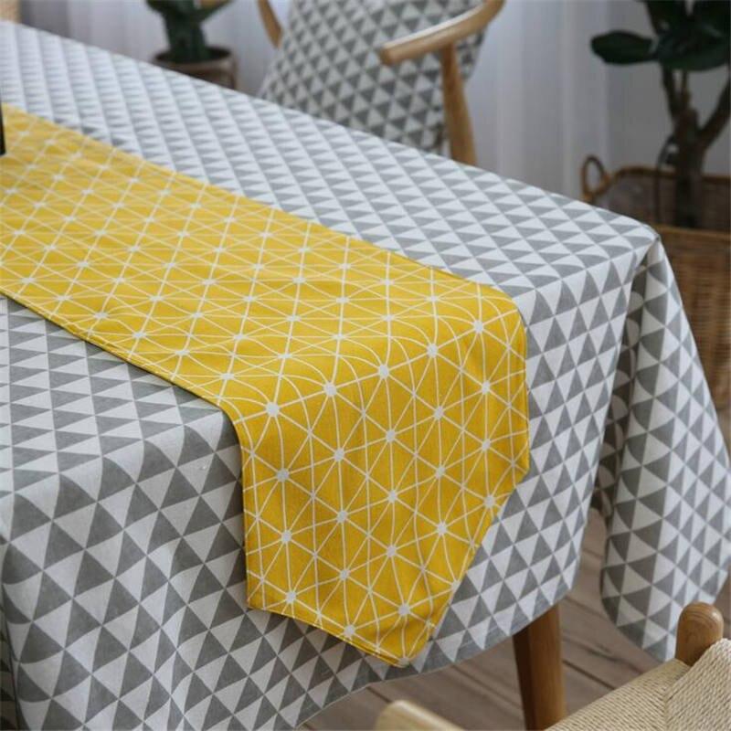 European High Grade Linen Cotton Colorful Jacquard Lattice Table Runner  Placemats Upscale Fabric Coffee Table Flag Bed Runner In Table Runners From  Home ...