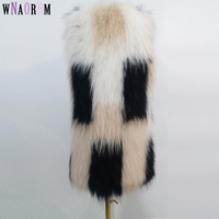 2019 Leather Grass Jacket fox fur coat 100% Raccoon Fur Braided Real Raccoon Fur Vest Knit Waistcoat Natural fur coat