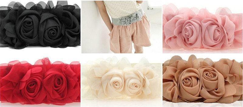 Vintage femmes fille mince Boucle Élastique Fleur Rose Taille Corset Ceinture Bande S