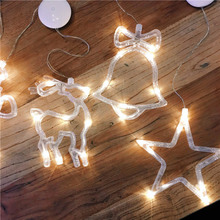 8Led Christmas Deer Light 6.3in*7.5in christmas deer led Glass Window Sucker Lamp Holiday Party Decor For Home New Years Day