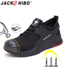 JACKSHIBO Safety Shoes Boots For Men Steel Toe Cap Anti-smashing Work Shoes Male Construction Safety Work Breathable Sneakers