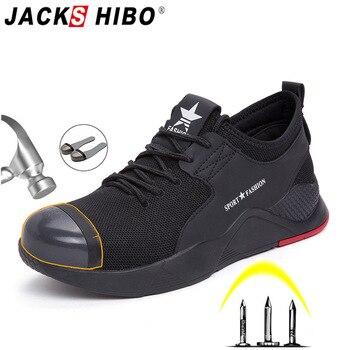 JACKSHIBO zapatos de seguridad botas para hombre acero puntera tapa antigolpes zapatos de trabajo hombre construcción seguridad trabajo zapatillas transpirables