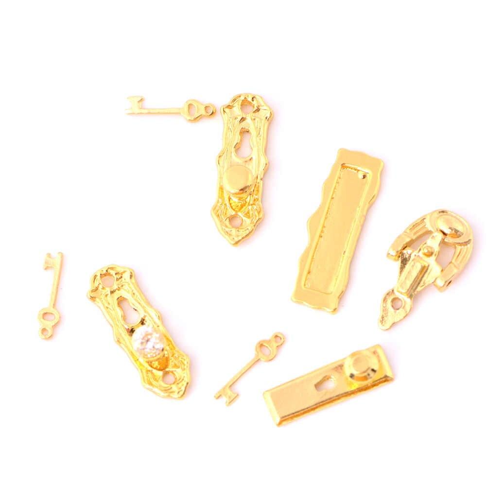 1 комплект миниатюрный Золотой металлический дверной замок молоток фурнитура