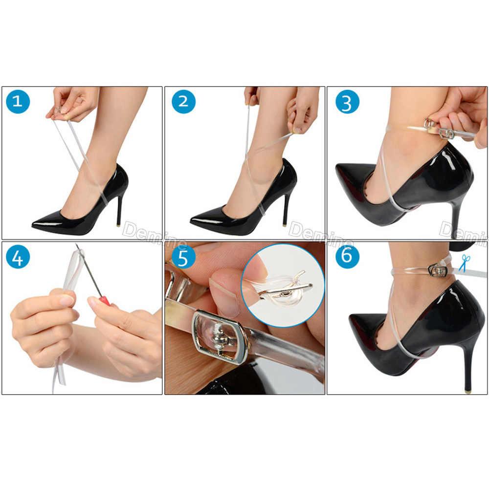 Demine 58 cm Unsichtbare Elastische Transparente Ankle Schuhe Bands für Frauen High Heels Locking Schuh Tie Silikon Schnürsenkel mit Taste