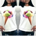 2016 Новая Мода Красочные Мороженое для Печати женская Кофты Естественный Цвет Личности Дамы Вскользь Толстовки 2 Цвета Размер S-XL