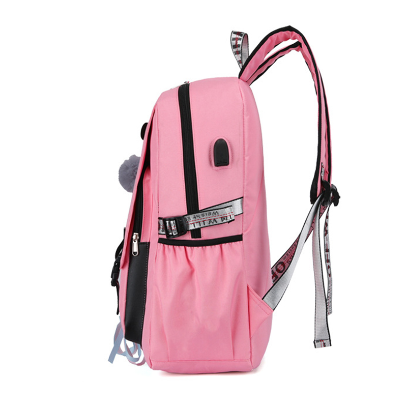HTB1yOUra8GE3KVjSZFhq6AkaFXaI Pink Canvas Backpack Women School Bags for Teenage Girls Preppy Style Large Capacity USB Back Pack Rucksack Youth Bagpack 2019