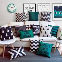 Home Sweet Home Cushion Cover Black White Green Geometric Decoration Dream Garden Like My House Linen