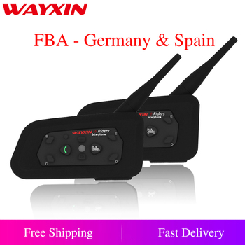 2PCS/lot Brand WAYXIN New 2018 1200M Motorcycle Bluetooth Helmet Intercom upto 6 riders Wireless Waterproof Interphone Headsets