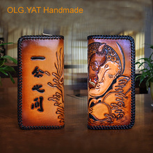 Mens Purse leather Vegetable-tanned hand-carved wallets long zipper bag Mobile phone wallet men hangbag leather pure cowhide