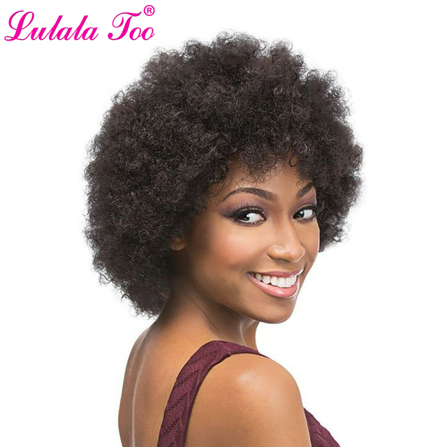 $ US $12.59 Short Kinky Curly Afro Wigs Natural Black Synthetic Wig For Women Heat Resistant Fiber African American Wig