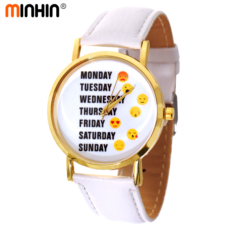 MINHIN Women Funny Emoji Shown Leather Quartz Wristwatches Graceful Lady Dress Accessory Mix Colors Casual Party Watches