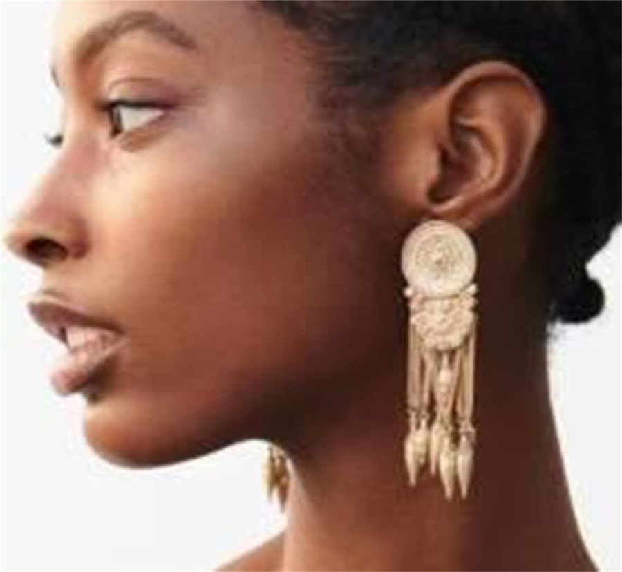 SexeMara Za 2019 New Style Tassel Metal Maxi Drop Earrings Women Geometric Round Hanging Earring Boho Punk Factory Jewelry