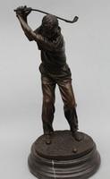 006999 14Western Art sculpture Bronze Marble Men Play Golf linksman sculpture Statue