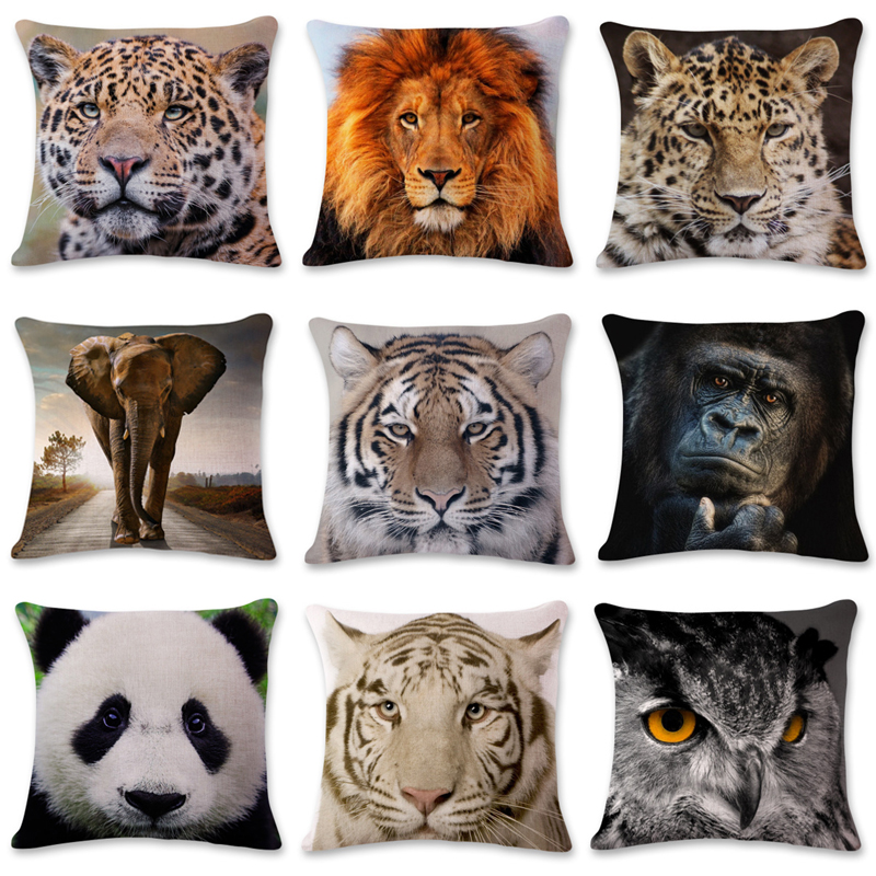 lAnimals World Portrait Cushion Cover Polyester Tiger Lion Orangutan Pillowcase Home Decorative Geometric Pillow Cover for