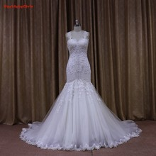 New Arrival 2016 Elegant Mermaid Sweetheart Lace Appliques Bridal Gown Cap Sleeve Chapel Train YIYI Wedding Dress WD0083