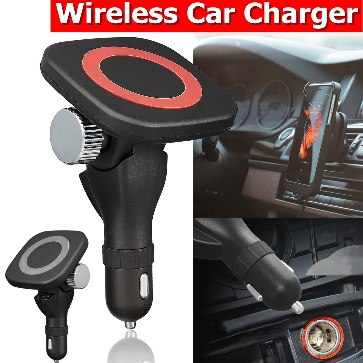 Qi Wireless Car Charger 180 degree rotary QI wireless fast charging vehicle bracket magnetic tape