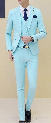 Latest Coat Pant Designs Mint Green Wedding Suits For Men Slim Fit Custom Groom Prom Tuxedo 3 Piece Blazer Jacket Men Masculino ...