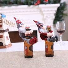 Рождественские Чехлы для винных бутылок, рождественские вечерние украшения для винных бутылок с Санта-Клаусом и снеговиком