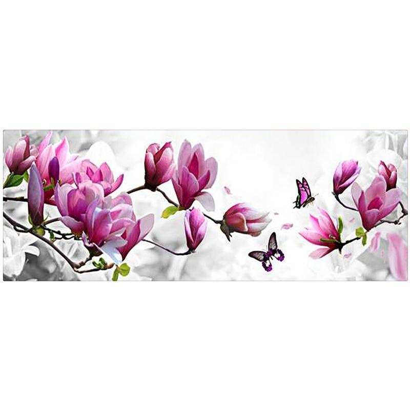 126X47 cm 5D diamant peinture magnolia fleur DMC 447 couleur diamant broderie feutre bricolage diamant mosaïque pour la décoration de la maison