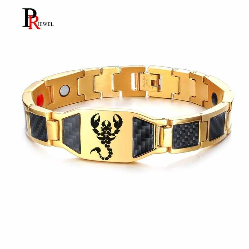 "Unique Scorpion Men's Bracelets with Carbon Fiber Stainless Steel Magnetic Therapy Bracelet 8.26"" Free Custom Engraving"
