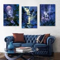 Free Shipping Stretched Canvas Prints Spirit Flash Effect LED Flashing Optical Fiber Print LED Wall Art LED Decorations