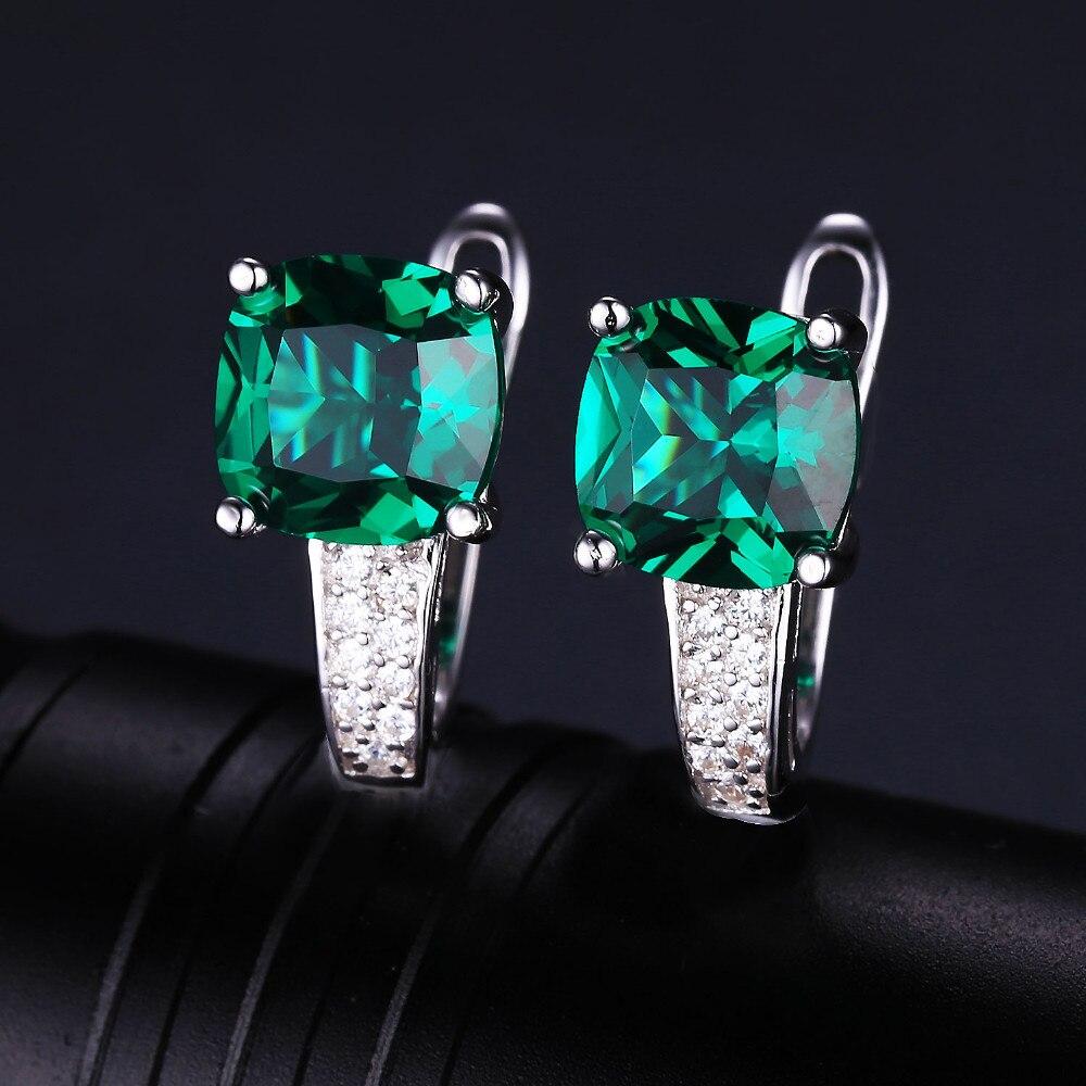 Bijoux palais 8.7ct bague émeraude pendentif Clip boucles d'oreilles ensemble de bijoux 925 en argent Sterling bijoux fins 45 cm boîte chaîne - 4