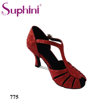 Free Shipping 2017 Red Cystal Red Latin Shoes Woman Salsa Dance Shoes