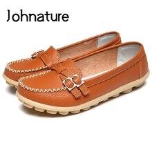 Johnature 2019 nueva primavera/otoño punta redonda sólido llano suela suave Slip On zapatos para mujeres mocasines cuero genuino Casual Flats
