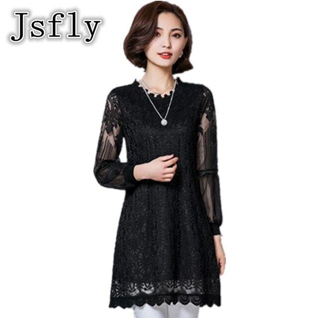 Groothandel canada 2017 nieuwe mode lente koreaanse vrouwen plus size m-5xl mesh patchwork lantaarn mouwen kant overhemd dress cm1090