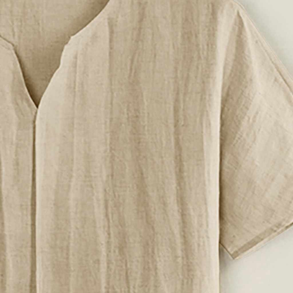 男性のシャツトップカジュアルリネン O ネック男性ブラウス男性の服ファッション半袖ビーチ男性シャツ camiseta hombre
