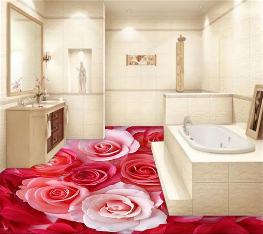 Modern Petals Blog: Red Rose White Rose Petals Modern Bathroom Custom 3D Floor