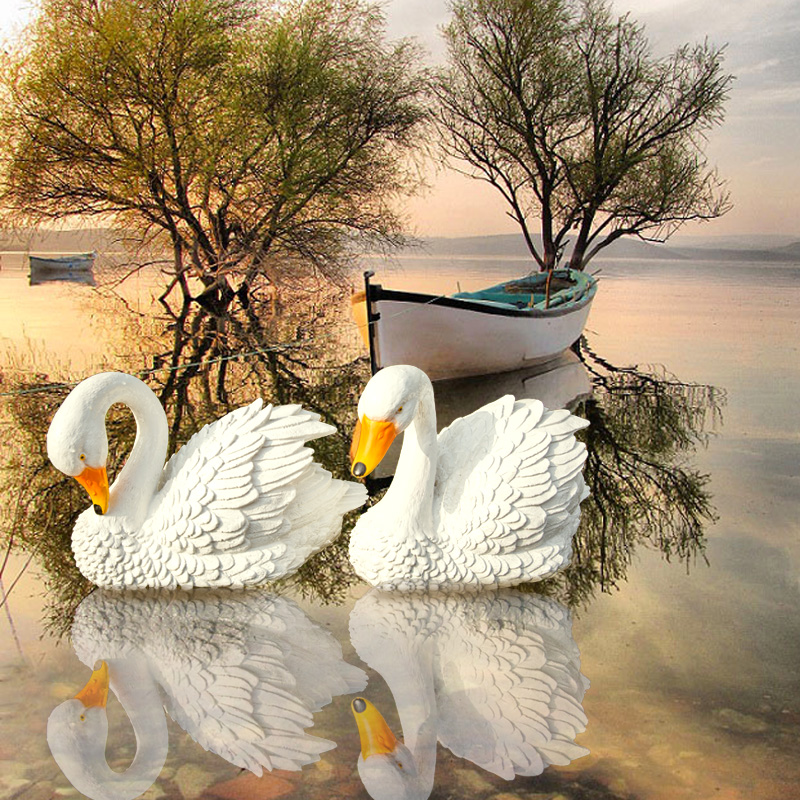 Outdoor Simulation Animal Ornamets Resin Swan Duck Decoration Waterscape Fish Pond Furnishing Crafts Landscaping Floating Water|Figurines & Miniatures| |  - title=