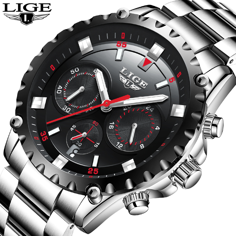 Mens Watches LIGE Top Brand Luxury Men Military Sports Watch Men's Waterproof Quartz Wrist Watch Male Clock Relogio Masculino
