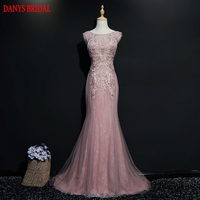 Pink Long Lace Mermaid Evening Dresses Party Beautiful Beaded Women Prom Formal Evening Gowns Dresses On Sale abendkleider
