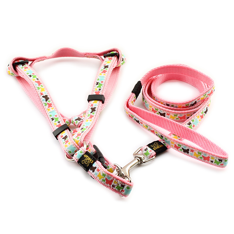 Armi store Colorful Butterfly Pattern Nylon Material Dog Harness Leash Dogs Princess Halter Harnesses 6044005 Pet armi store colorful butterfly pattern nylon material dog harness