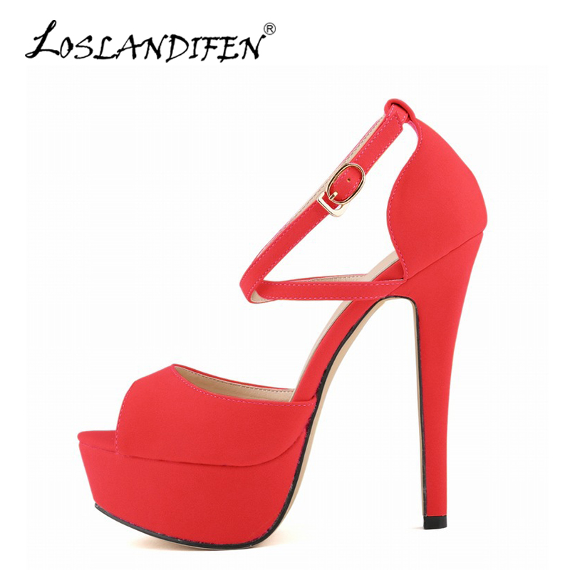 LOSLANDIFEN Fashion Peep Toe Women Sandals Sexy Platform High Heels Shoes Woman Summer Stiletto Casual Shoes Wedding 817-8Suede phyanic bling glitter high heels 2017 silver wedding shoes woman summer platform women sandals sexy casual pumps phy4901