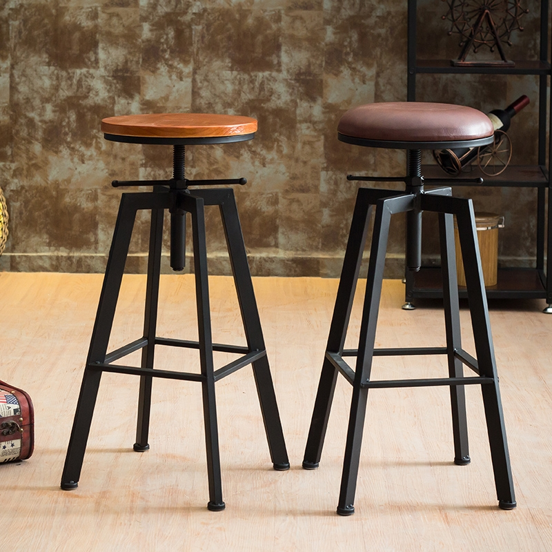 Furniture Cooperative Ikayaa Bar Stool Chair Natural Pine Wood Top Swivel Kitchen Dining Sitting Chair Height Adjustable Industrial Style Bar Stool