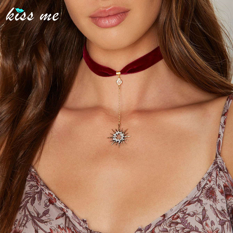 KISS ME Trendy Crystal Stars Pendant Red Black Ribbon Choker Necklace Hot Sale Women Jewelry Accessories