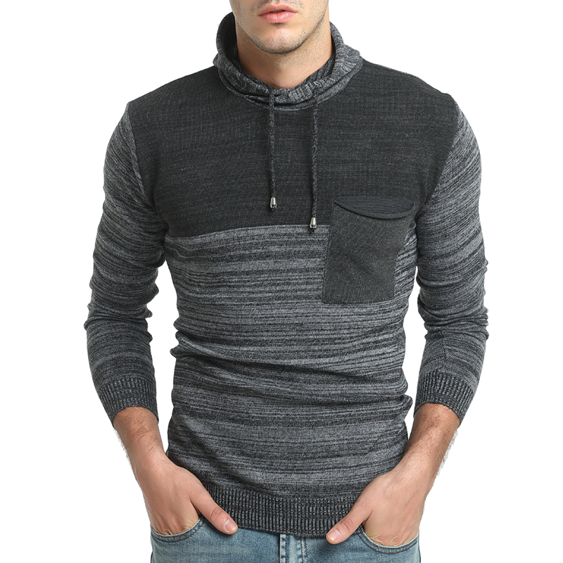 2018 New Brand Casual Sweater Fight Color Hooded Long Sleeves Slim Fit Knitting Mens Sweaters And Pullovers Men Pullover Men XXL