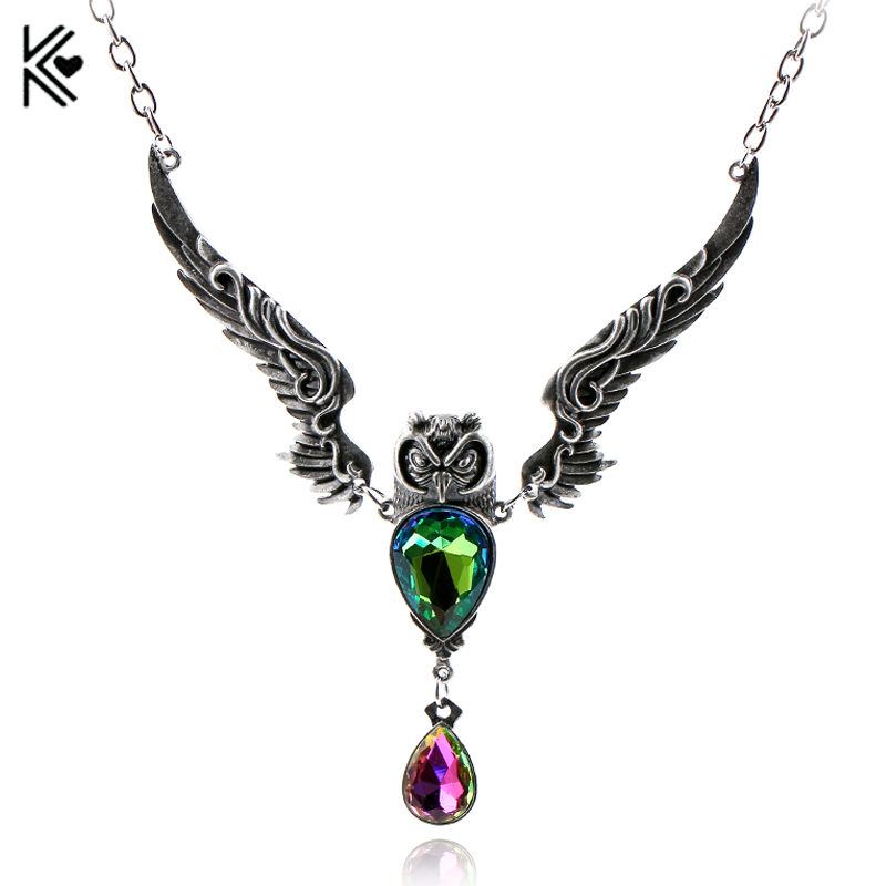 Cute Vintage Spread Wings Owl Necklace Big Green Purple CZ Crystal Pendant High Quality Men Women Fashion Jewelry Collar Gifts