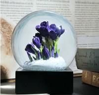 Souvenirs Crocus Crystal Ball Water Glass Cool Snow Globe Saffron Purple Flower White Snowflake Home Office Decor Birthday gift