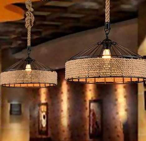 Nordic чердак гладить Art подвесной светильник, украшенный пеньковой веревкой Ретро подвесные светильники для Обеденная подвесной светильник промышленные винтажные светильники