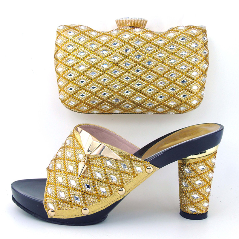 ФОТО Free Shipping!Newest lady Italian matching shoe and bag set for wedding and party in wholesale GOLD color,size37-43  HHY1-12