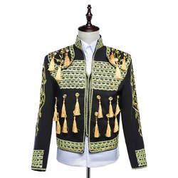 Бесплатная доставка Мужская Золотой вышивка красный/синий/белый/черный средневековой куртка/для выступления Танцы короткие смокинг